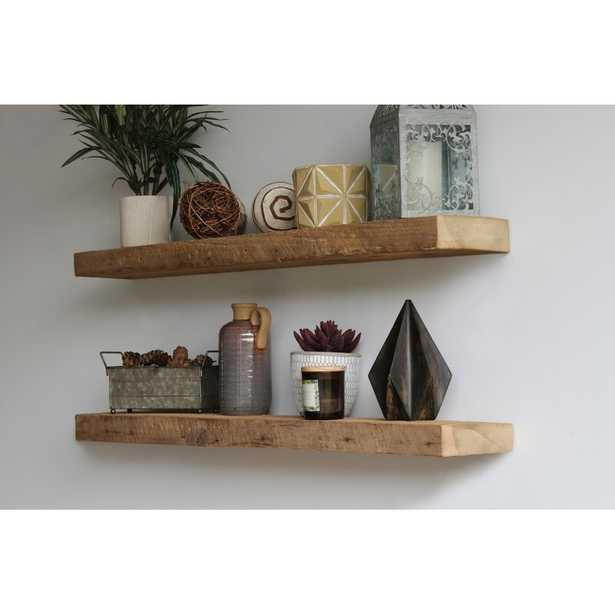 Reclaimed Barn Wood 2 Piece Floating Shelf Set (Set of 2) - Wayfair