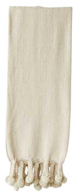 Augustine Cotton Throw Blanket - Cream - Wayfair