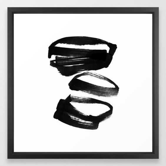 """Black and White Abstract Shapes Ink Painting Framed Art Print - 22 x 22"""" vector black frame - Society6"""