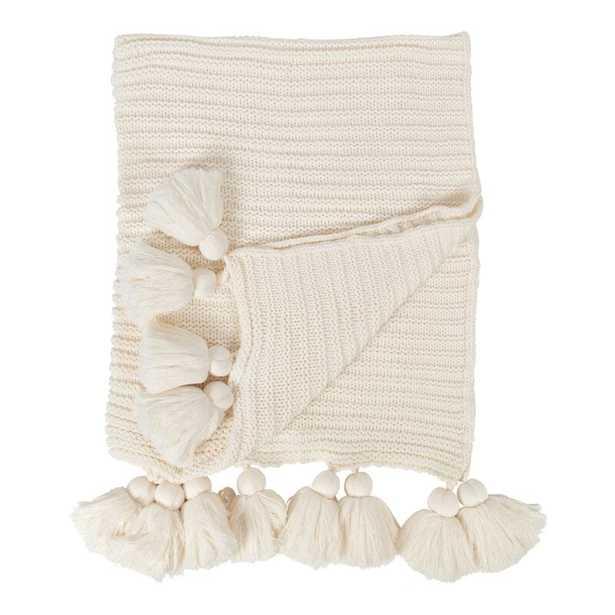 Dorcheer Chunky Ribbed Knit Throw Blanket - White - Wayfair