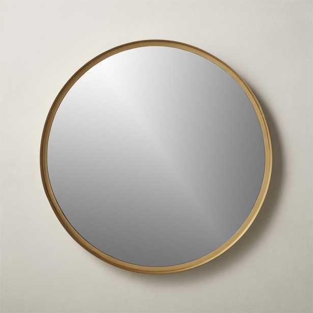 """Croft Round Brass Mirror 36"""" - CB2"""