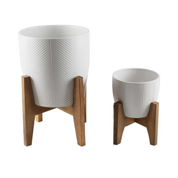 Valarie Chevron 2 - Piece Ceramic Pot Planter Set - Wayfair