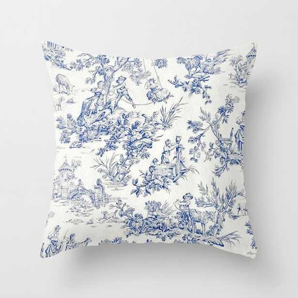 Blue French Toile Throw Pillow - Society6