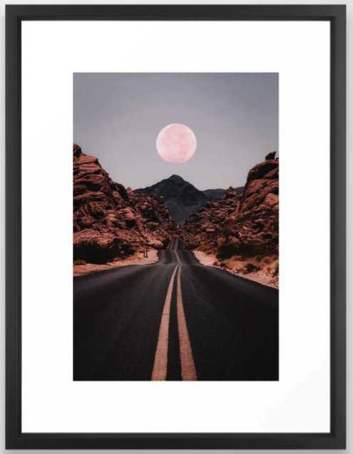 Road Red Moon Framed Art Print - Society6