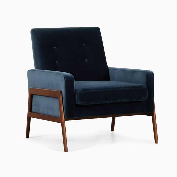 Henley Chair Navy Velvet Walnut - West Elm