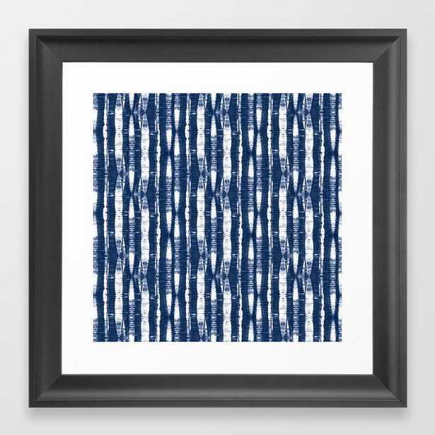 Shibori Stripes 4 Indigo Blue Framed Art Print - Vector Black - 12x12 - Society6