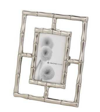 Silver Bamboo 1-Opening 5 in. x 7 in. Aluminum in Silver Finish Picture Frame - Rosen Studio