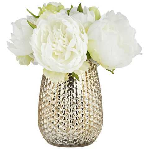 """White Peony 8""""H Faux Flowers in a Mercury Glass Vase - Lamps Plus"""