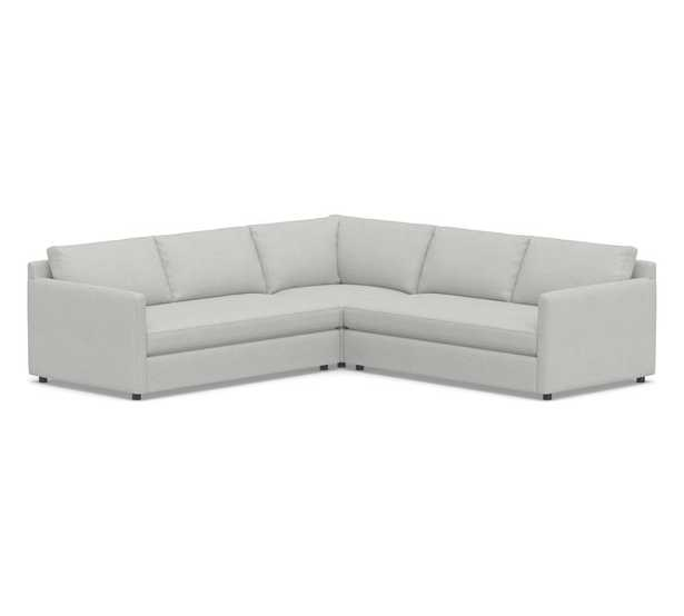 Pacifica Square Arm Upholstered 3-Piece L-Shaped Corner Sectional, Polyester Wrapped Cushions, Park Weave Ash - Pottery Barn