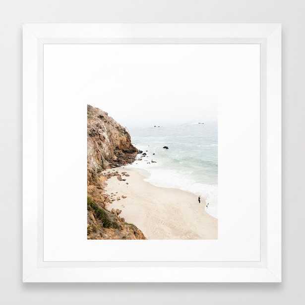 "Malibu California Beach Framed Art Print, 12"" x 12"", Vector white frame - Society6"