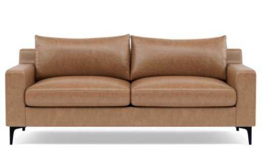"SLOAN LEATHER Leather 2-Seat Sofa 91""W Standard -  Palomino - Matte Black - Interior Define"