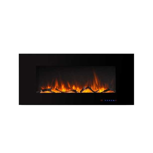 "18.35"" H x 60"" W x 5"" D Black Nishant Wall Mounted Electric Fireplace - Wayfair"