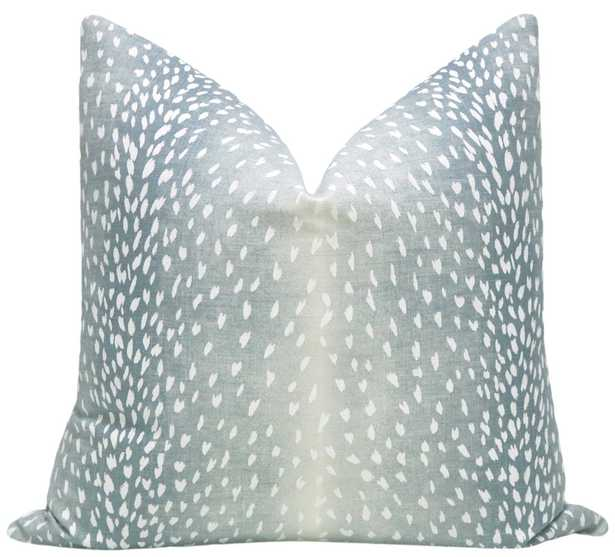 "Antelope Linen Print, Spa Blue, Pillow Cover 20""x20"" - Little Design Company"