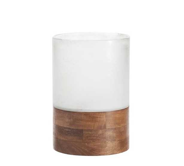 Wood and Frosted Glass Votive small - Pottery Barn