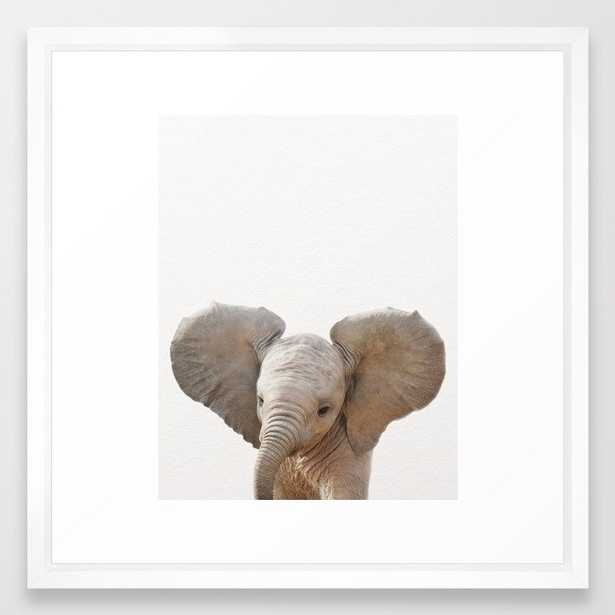Baby Elephant, Baby Animals Art Prints by Synplus Framed Art Print - Society6