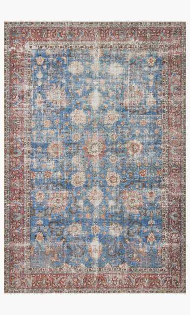 Loloi Loren LQ-01 Blue / Brick 3.5' x 5.5' - Loma Threads