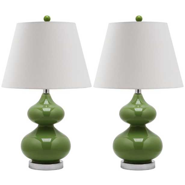 Eva 24 in. Fern Green Double Gourd Glass Table Lamp with Off-White Shade (Set of 2) - Home Depot