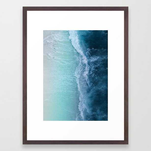 "Turquoise Sea Framed Art Print 20"" x 26"" Walnut - Society6"
