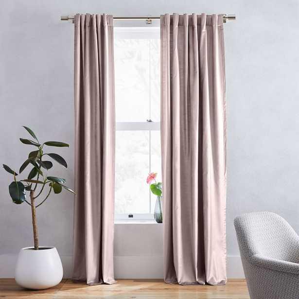 "Cotton Luster Velvet Curtain, Dusty Blush, 48""x96"", Individual, Unlined - West Elm"