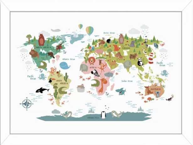 Animals World Map Framed Art - Wayfair
