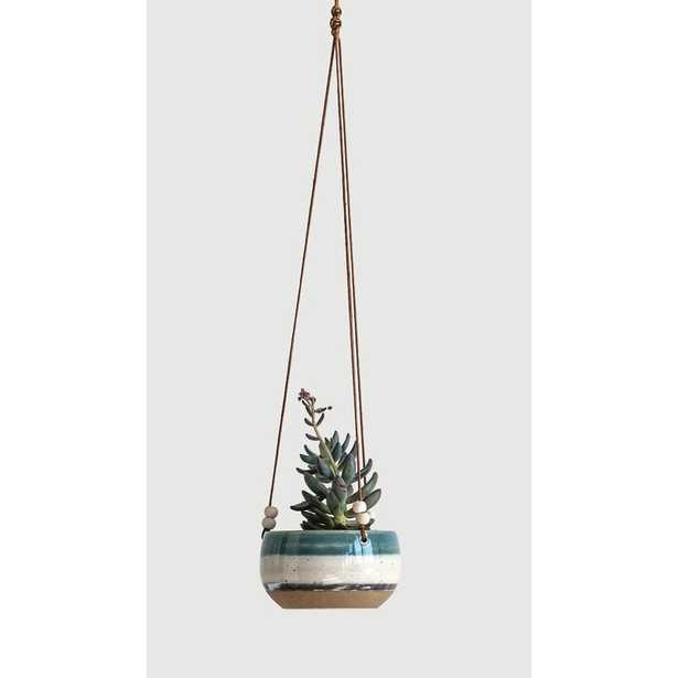 Keeble Striped Hanging Ceramic Hanging Planter - Wayfair