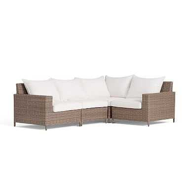 Torrey All-Weather Wicker 4-Piece Square Arm Sectional Frame & Cushion Set (1 Corner + 1 Armless + 1 Left Arm + 1 Right Arm), Natural - Pottery Barn