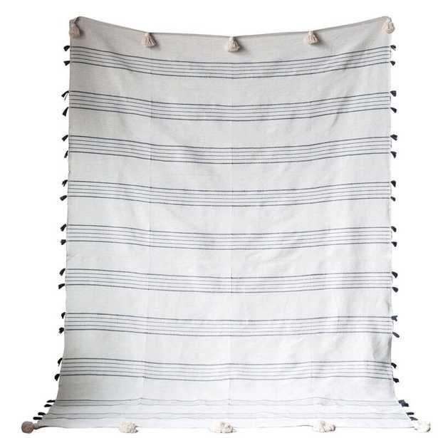 Menefee Striped Hand-Loomed with Tassels Cotton Blanket - Wayfair