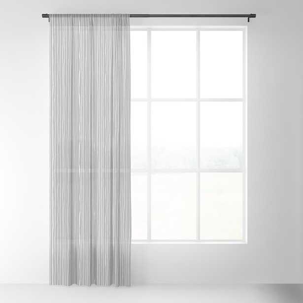 "Platinum Lines Never Fail - Dark Gray Sheer Curtain - 96""x50"" - Single Panel - Society6"