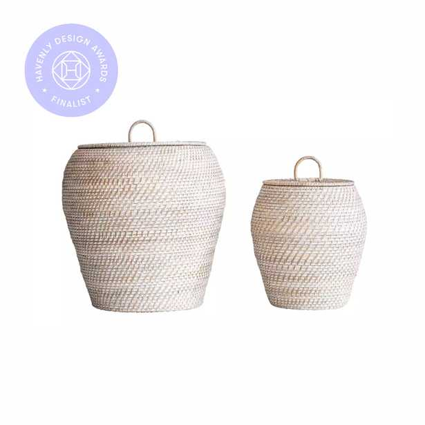 Whitewashed Rattan Baskets with Lids (Set of 2 Sizes) - Moss & Wilder