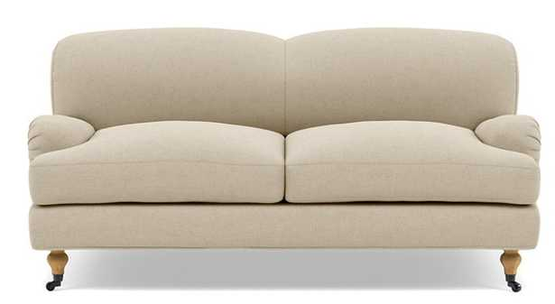 Rose by The Everygirl Loveseats with Beige Oatmeal Fabric and Natural Oak with Antiqued Caster legs - Interior Define