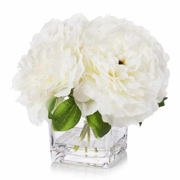 Silk Peonies Floral Arrangements in Vase - Cream - Wayfair
