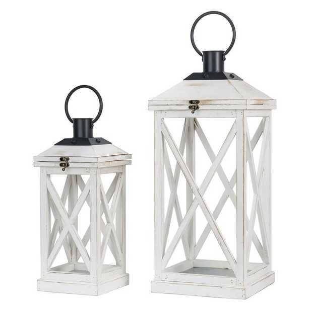 2 Piece Wood Tabletop Lantern Set (Set of 2) - Wayfair
