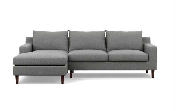 """Sectional Sofa with Left Chaise - 96"""" - Plow Crossweave - Oiled Walnut Tapered Round Wood - Interior Define"""