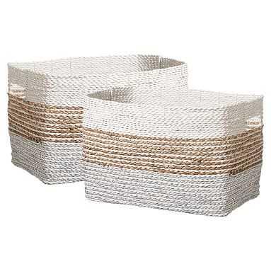 Shimmer Stripe Storage Bin Medium, Set Of 2 - Pottery Barn Teen