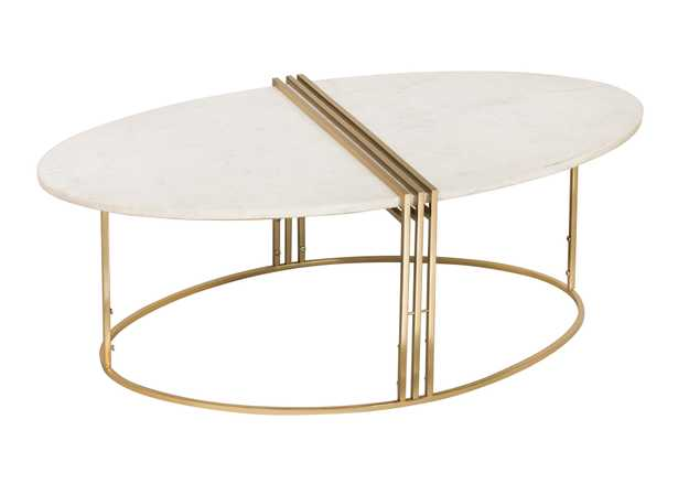 Caleb Oval White Marble Cocktail Table - Maren Home
