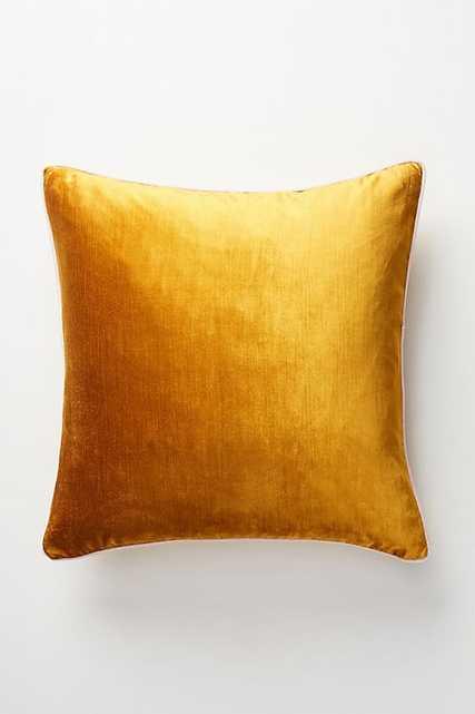 """Adelina Slub Velvet Pillow with Insert - 22"""" x 22"""" - Ochre - Anthropologie"""