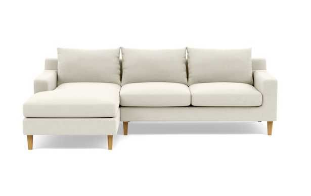 SLOAN Sectional Sofa with Left Chaise Chalk Heathered Weave - Interior Define