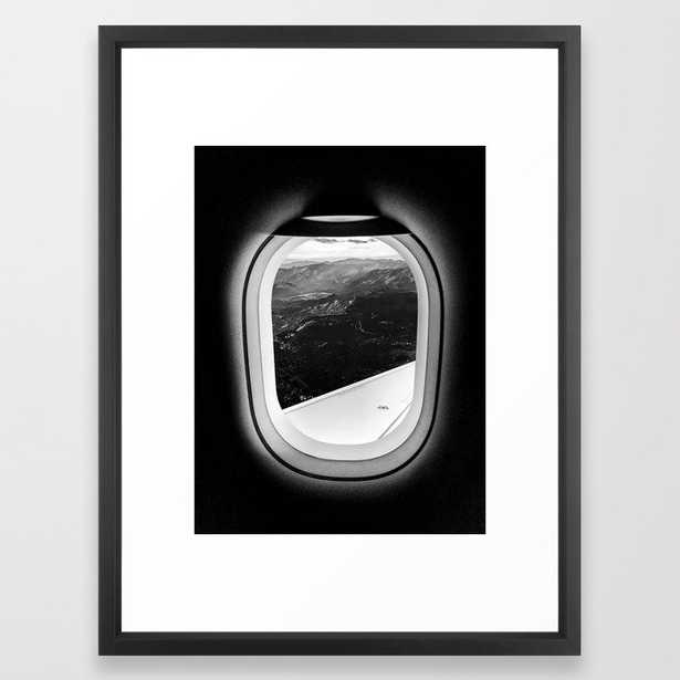 Window Seat // Scenic Mountain View from Airplane Wing // Snowcapped Landscape Photography Framed Art Print - Society6