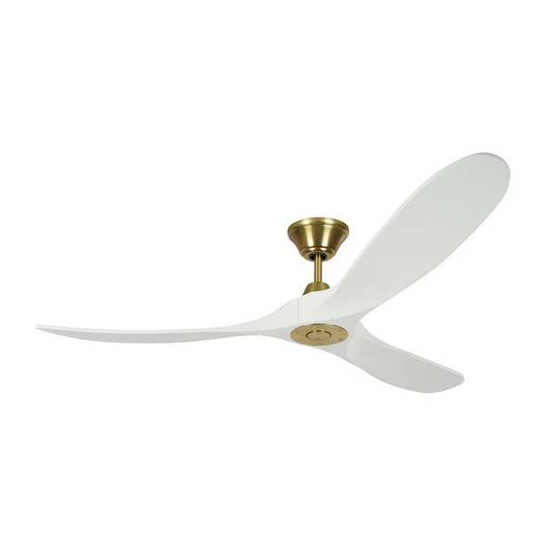 """60"""" Beeney 3 - Blade Propeller Ceiling Fan with Remote Control, Burnished Brass with White Blade - Wayfair"""