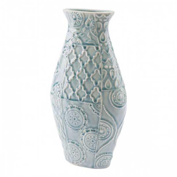 Medallion Md Vase Blue - Zuri Studios
