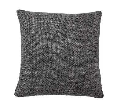 """Faye Textured Linen Pillow Cover, 20"""", Charcoal - Pottery Barn"""