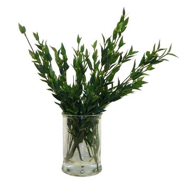 Fresh Cut Greenery Glass Floral Arrangement in Vase - Wayfair