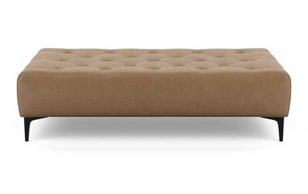 MS. CHESTERFIELD Leather Ottoman_ palomino, painted black tepered round wood leg - Interior Define