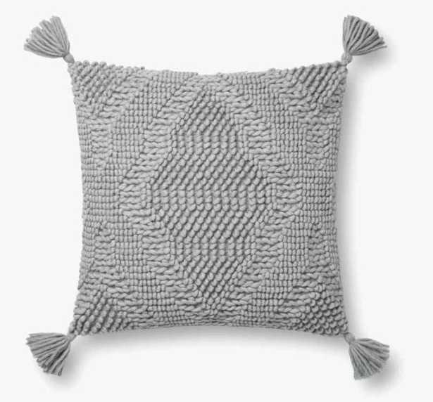"Woven Tassel Throw Pillow, Gray, 18"" x 18"" - Loma Threads"