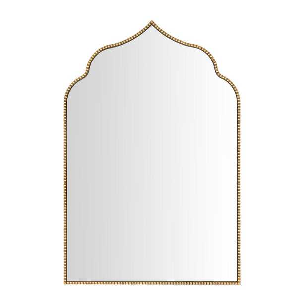 Wall Mirrors Antiqued Gold Beaded Scroll Arched Mirror - Home Depot