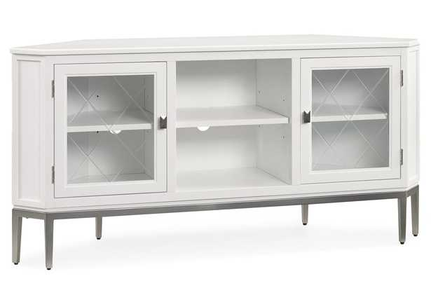 """White 57"""" Corner TV Console with Pewter Metal Base and Smoke Gray Interior - Wayfair"""