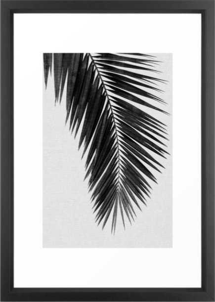 "Palm Leaf Black and White I, 20""x26"", Vector Black Framed - Society6"