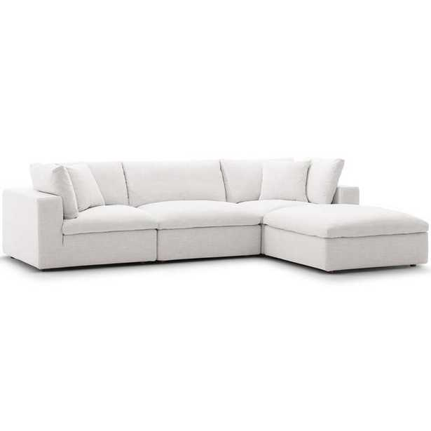 Commix Down Filled Overstuffed 4 Piece Sectional Sofa Set in Beige - Modway Furniture