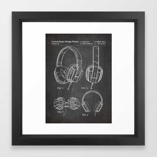 Headphones Patent - Head Phones Art - Black Chalkboard Framed Art Print - Society6