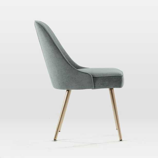 Mid-Century Dining Chair, Metal Leg, Distressed Velvet, Mineral Gray, Oil Rubbed Bronze - West Elm